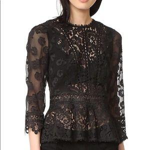 Rebecca Taylor Long Sleeve Black Mix Lace Blouse 0